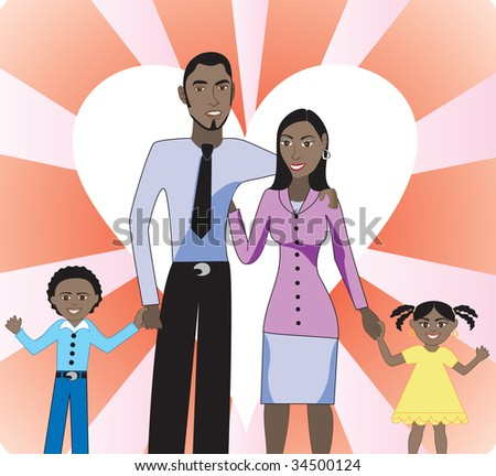 A beautiful African American family of 4 showing their love and happiness for each other. - stock vector