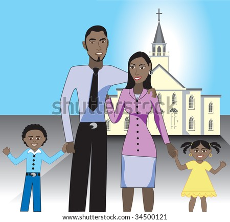 A beautiful African American family of 4 showing their love and happiness for each other after attending church. - stock vector
