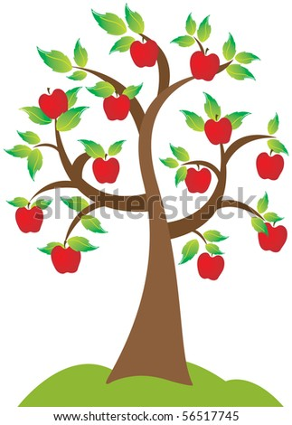 A beautiful apple tree in full bloom. - stock vector