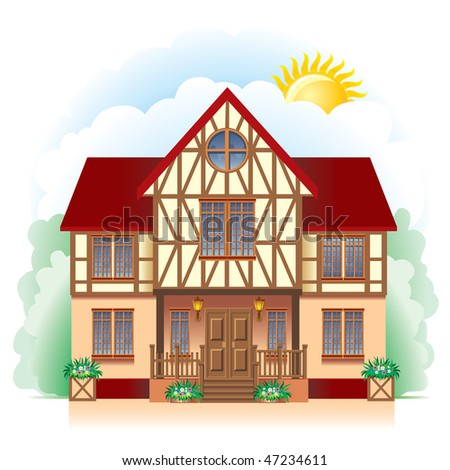 A beautiful Cottage, vector image. Detailed drawing. - stock vector
