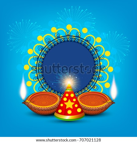 Beautiful diwali greeting card design line stock vector 707021128 a beautiful diwali greeting card design with line art decorated illuminated floral diya and fire cracker m4hsunfo
