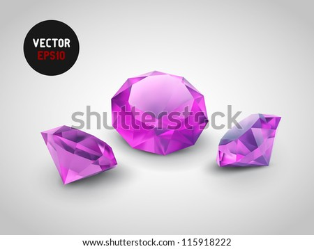 A beautiful gems isolated on grey background - stock vector