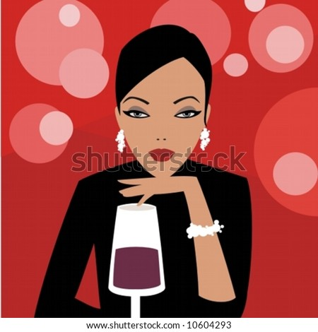 a beautiful girl and a glass of wine - stock vector