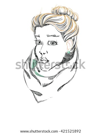 A Beautiful Girl with a Bun Hairstyle. Freehand Vector Illustration. - stock vector