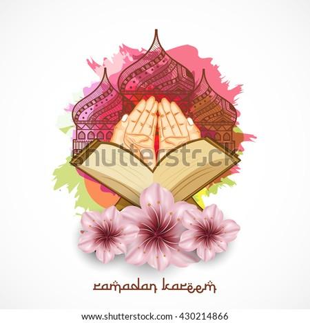 A beautiful greeting card,poster of ramadan kareem with praying hands quran sharif and decorated tomb. - stock vector