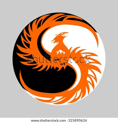 a beautiful illustration with a fiery bird - the phoenix.  - stock vector