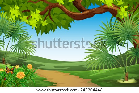A beautiful landscape with green plants - stock vector