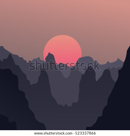 a beautiful peaceful landscape; vector illustration; minimalism