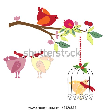 a beautiful set of colorful christmas birds in vector