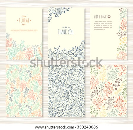 A beautiful set of flyers, brochures, templates design. Vintage cards with hand drawn flower patterns, ornaments. Floral decorations, leaves, flower texture. Spring, summer or autumn vector banners.