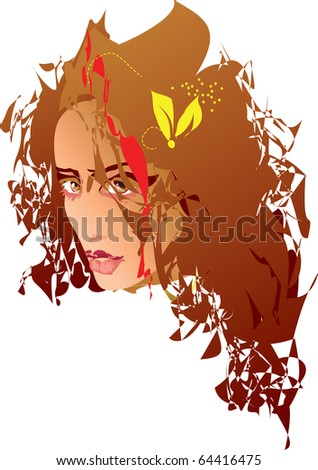 a beautiful sexi girl adorned hair with flowers - stock vector
