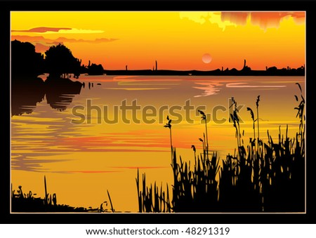 A beautiful sunset on the river. Vector art-illustration. - stock vector