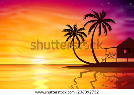 A Beautiful Sunset, Sunrise with Palm Trees and Beach Nut - Vector EPS 10.