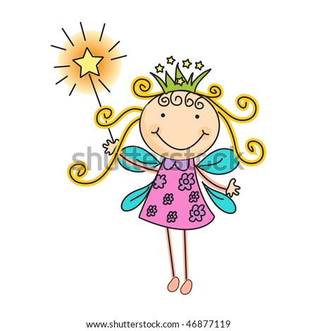 a beautiful vector illustration of a fairy with crown and magic stick - stock vector