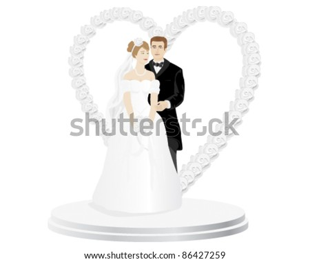 A beautiful wedding cake top that has a loving bride and groom. All elements are on separate layers for easy editing. Can be placed on any color background. - stock vector