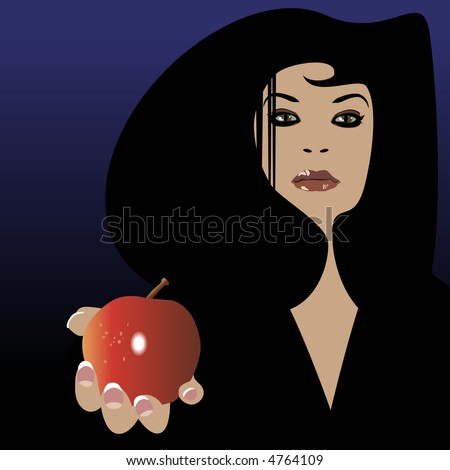 A beautiful woman offering an apple (vector). - stock vector