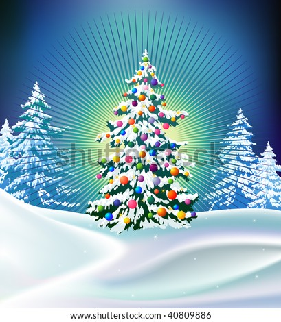 a beautifully decorated Christmas tree appears in the midst of a snowy field - stock vector