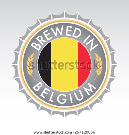 A Belgium beer cap crest in vector format. The bottle cap features the flag of Belgium flanked by two golden wheat icons. - stock vector