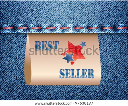 A Best seller stricker or appending label on jeans