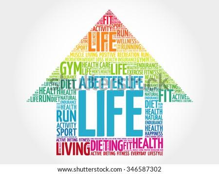 A Better Life arrow word cloud, health concept - stock vector