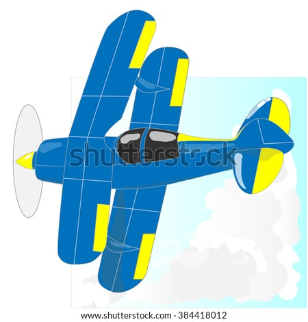 A bi plane isolated on sky. Vector  illustration.