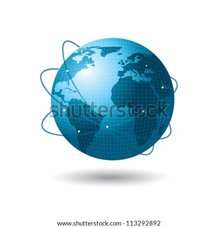 A big connected world greeting ideas and business over white background - stock vector