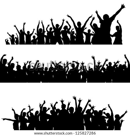 A big crowd with lots of people cheering and excited. Please note that the majority of the figures are complete with legs. Just remove the clipping mask. - stock vector