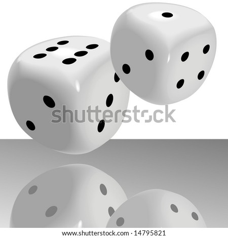 A big fat pair of glossy dice roll lucky seven 7 over a shiny casino floor with reflection. - stock vector