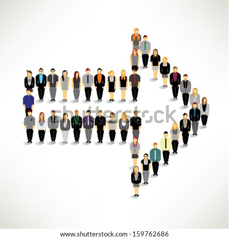 A big group of businessman gather around in arrow shape vector design - stock vector