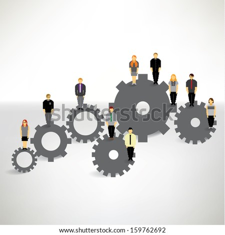 A big group of businessman standing on the gear wheels vector design - stock vector