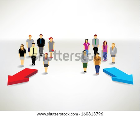 A big group of people finding their way and solution conceptual vector design - stock vector