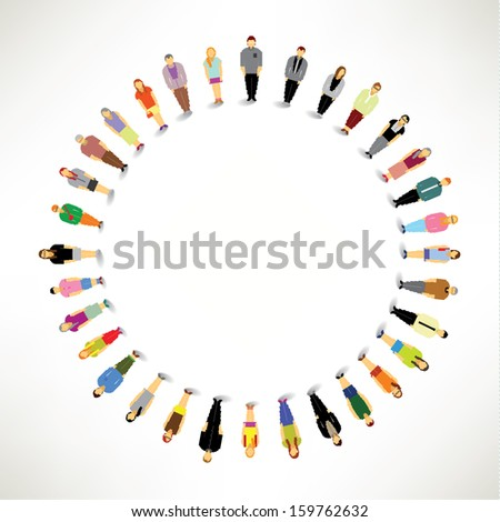 A Big Group of People Gather Together In Circle Vector Design - stock vector