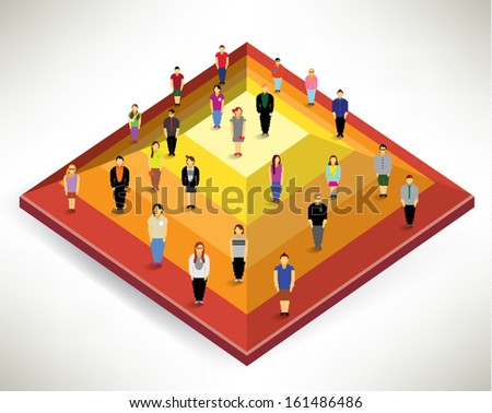 A Big Group of People Gather Together On Pyramid Vector Design - stock vector