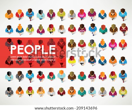 A Big Group of Top View People Vector Design - stock vector