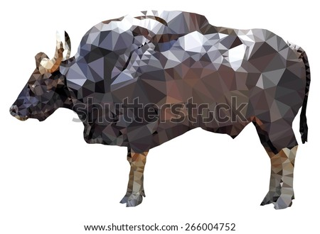 A big muscular Gaur bull, low poly vector illustration.  - stock vector
