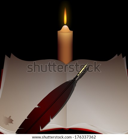 a big open book with a pen and a lighted candle
