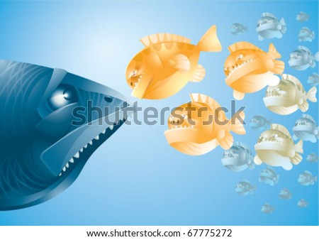 A big scared fish - stock vector
