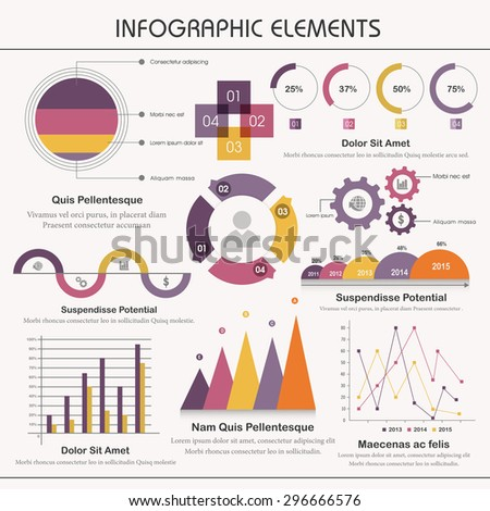 A big set of various statistical business infographic elements on grey background. - stock vector