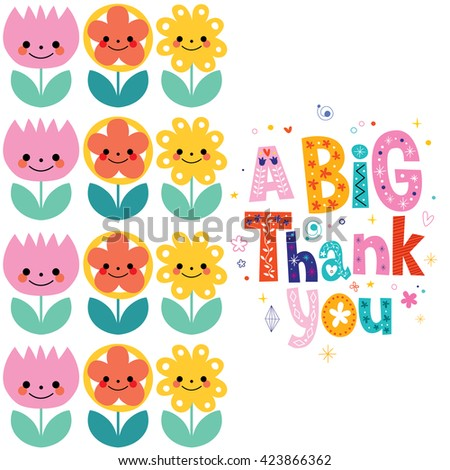 a big thank you greeting card - stock vector