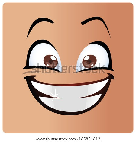a big white smile in a big face - stock vector