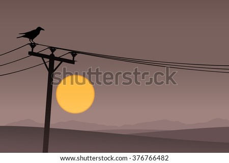 A Bird on Telephone Lines with Dark Sunrise, Sunset - stock vector