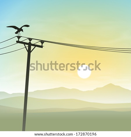 A Bird on Telephone Lines with Misty Sunrise, Sunset - stock vector