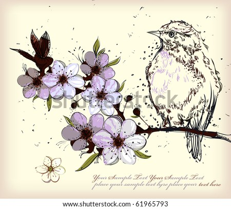 a bird sitting on a branch of a flowering apple tree - stock vector