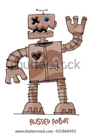 a bit weird rusted robot - cartoon - stock vector