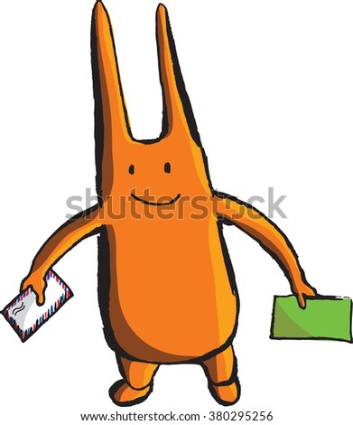 A bizarre orange wight with long ears and envelopes, hand drawn - vector Illustration - stock vector