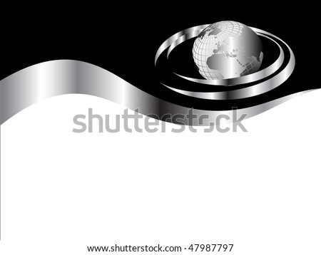 A black and silver business card template with a globe surrounded by silver swoosh - stock vector