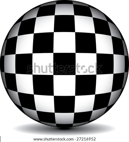A black and white checkered sphere in vector format - stock vector