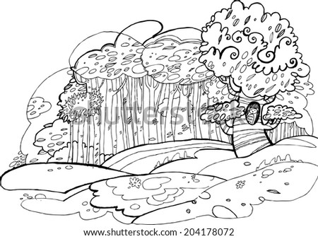 A black and white doodle drawing. Forest and hills. Tree with owl.  - stock vector