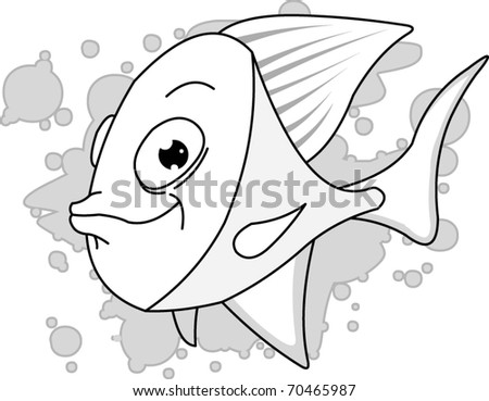 A black and white fish cartoon illustration; vector and computer generated illustration. - stock vector