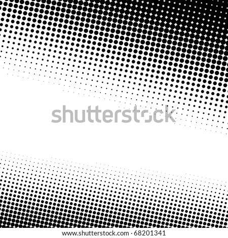 A black and white halftone background with plenty of copy space in vector format. - stock vector
